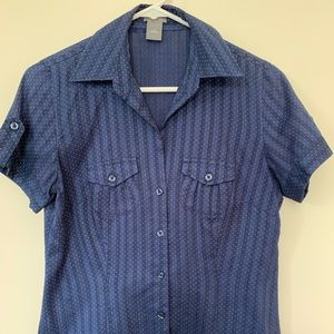 Blue dot short sleeved blouse Ann Taylor